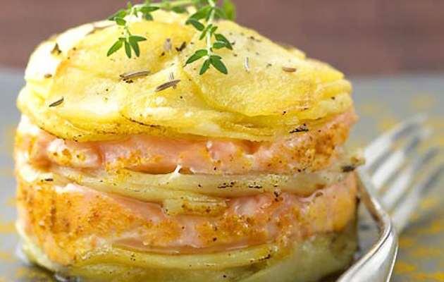 Salmone e patate al forno