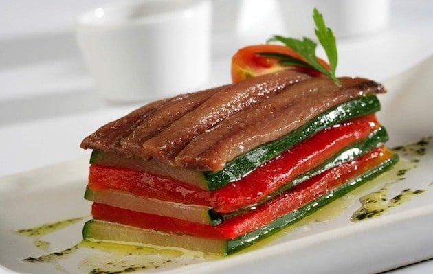 Anchovies and roasted vegetables aubergines and peppers sheets
